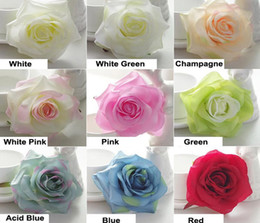 Wholesale Satin Silk Flowers - 50pc High Quality Spiring Color Silk flower Head Rose wholesale White Rose flower Heads 4.2inch Artifical Satin rose heads for Wedding Wall