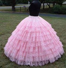 Wholesale Crinoline Petticoat Pink - Fashion 9 layers Pink lace ball gown petticoat Diameter Underwear Crinoline Wedding Accessory Underskirt For Wedding Gown