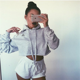 Wholesale Hooded Jumpers - 2017092801 Ladies Womens Girls Plain Hoodie hoody Sweatshirt Hooded Jumper Crop Top Women Lady Warm Casual Hole Sweatshirts