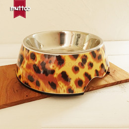 Wholesale Stainless Steel Dog Bowl Wholesale - high quality detachable dual antiskid Stainless steel leopard water dog bowl DB-004