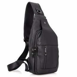 Wholesale Organic Back - 100% Real Cow Leather Men Chest Bags Black Sling Bag For Boy's Back packs Popular Satchels Shoulder Messenger Bag Handbags 4004