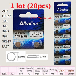 Wholesale Lr927 Button Cell - 20pcs 1 lot AG7 LR927 195 395 395A 399 SR927 LR57 1.55V alkaline button cell battery coin batteries Free Shipping