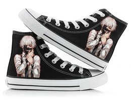 Wholesale Anime Canvas Shoes - Anime Tokyo Ghoul Kaneki Ken Canvas Shoes Men &W Printed Ankle Shoes Lace Up Flat Heel Shoes Free Shipping