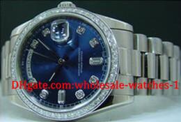 Montres de plongée perpétuelles en Ligne-Mens Blue Dial Diamond Day Date 2 Montre Perpetual Hommes Robe Président Dive Watches Automatic