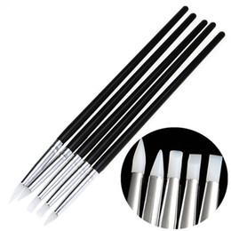 Wholesale Nail Stamping Supplies - Wholesale- 5Pcs Soft Silicone black wood Nail Art design stamp Pen Brush Carving Craft Supplies UV Gel Building brushes Pencil DIY Tools