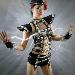 Wholesale Sparkle Bodysuit - 2017 Sexy ds costume fashion dj female singer cutout bodysuit costumes twirled service sparkling diamond for singer dancer bar