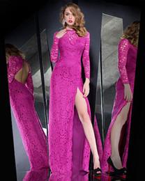 Wholesale High Slit Slim Skirt - 2017 Prom Long Sleeve Sexy Open Back Corset Skirt Slit Magenta Lace Formal Evening Dresses Women Slim Elegant Robe De Soiree
