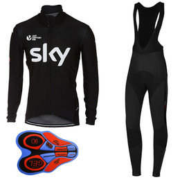 Wholesale Sky Team Long Sleeve Cycling - 2017 Black SKY Men Long Sleeve Cycling Jersey bib long cycling kits Polyester + Lycra Jerseys and Pants Wear Clothing bicycle Team