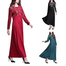Wholesale Islamic Clothing Women Wholesale - Hot Sale Women's Muslim Malaysian Elegant Long Sleeve Abaya Kaftan Evening Dress Eyeful Islamic Women Fashion Clothing