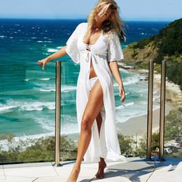 Wholesale White Lace Cardigan Dress - Western Style White Maxi Cover-Up Kimono Sexy Sheer Lace Chiffon Long Beach Club Dresses Women Lace-Up Bikini Cover-Ups Cardigan ZZNF0223
