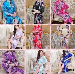 Wholesale Sexy Silk Robe Styles - Women's Kimono Robe Peacock and Blossoms Silk Nightwear Peacock Kimono Robe Short Sleeve Silk Bridal Robe Long Short Style S-3XL