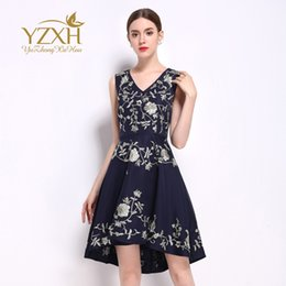 Wholesale Thread Embroidery Dresses - European station 2017 summer new style European and American women's embroidered gold thread round neck sleeveless dress name brand women dr