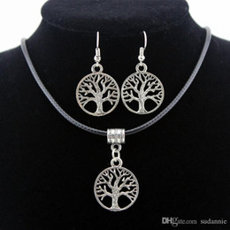 Wholesale Titanium Lovers Pendants - 2017 Silver Tree Of Life Jewelry Sets Pendant Necklace & Earrings Totem Gift Wife Girlfriend Women Wedding Valentines Day Love