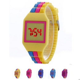 Wholesale Mens Colorful Sport Watches - Fashion Square Dial Digital LED Watches Women Mens Rainbow Watch Touch Screen Bracelet Colorful Silicone Men Wristwatches for GIFT Watch