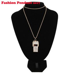 Wholesale Halloween Whistle - 2018 Necklace Ccrystal Whistle Pendant Necklaces Full Rhinestone Gold Plated Choker Jewelry Long Sweater Chain Elegant