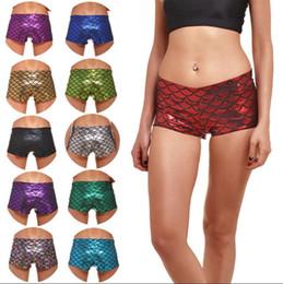 2019 штаны с низкой талией для йоги Низкая талия тощие шорты летние женщины рыбья чешуя печатных шорты эластичный йога фитнес короткие брюки OOA3223 дешево штаны с низкой талией для йоги