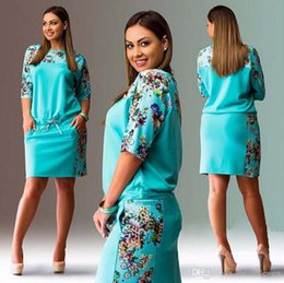 Wholesale Dresses Fat Woman - 2017 hot selling summer apparel round neck sleeve printing large size fat girl women dress dh-4