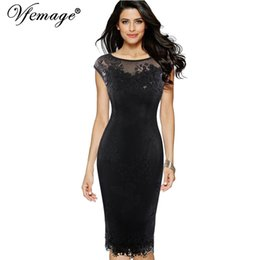 Wholesale Mother S Bride Dress - Wholesale- Vfemage Womens Sexy Sequins Crochet Butterfly Lace Party Bodycon Evening Bridemaid Mother of Bride Special Occasion Dress 3998