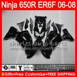 Wholesale Kawasaki Er6 - 8Gifts 23Colors Body For KAWASAKI NINJA 650R ER6F 06 07 08 Ninja650R 20NO44 gloss black ER 6F 06-08 ER6 F ER-6F 2006 2007 2008 Fairing Kit