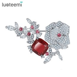 Wholesale African Dresses For Sale - Fashion Flower Brooch for Women New Arrival Big Red CZ Crystal Rose Apparel Dress On Sale Statement Jewelry LUOTEEMI