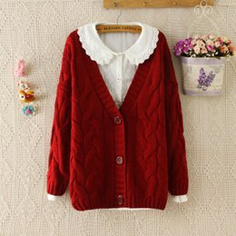 Wholesale Vintage Cardigans For Women - Wholesale-Vintage Preppy Style Thickening Plus Size Sweater Knitted Wool Jacket Outerwear For Women Loose Casual Cardigan Autumn Winte