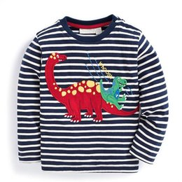 Wholesale Summer Striped Shirts For Boys - Baby Boys T shirt Children Clothing 2017 Brand Clothes Boys Long Sleeve Tops Animal Appliques Kids T-shirts for Boy Sweatshirt