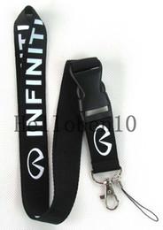 Wholesale keychain nissan - 100pcs black Nissan car logo Lanyard Strap Badge Running ipod Holder Detachable Keychain
