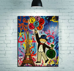 Wholesale Monopoly Travel - Framed Alec Monopoly New Fashion Travel Handpainted Cartoon Graffiti Pop Art Oil Painting,on High Quality Canvas Home Wall Decor Multi sizes
