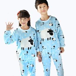 Wholesale Soft Coral Fleece Sleepwear - Winter Children Soft Fleece Pajamas Flannel Sleepwear Girls Loungewear Cute Sheep Coral Fleece Home Wears 2016 Winter Pyjamas