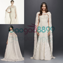 wedding dresses lace cloaks Promo Codes - Oleg Cassini Vintage Lace Mermaid Wedding Dresses with Cape Cloak 2019 Modest Sweetheart Full Length Beach Party Bridal Dress PLUS SIZE