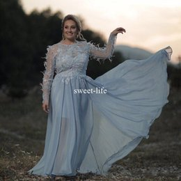 purple feather dresses Promo Codes - Light Blue Plus Size Feather 2017 A line Prom Dresses Jewel Illusion Sweetheart Long sleeve Zipper Empire Formal Floor-length Evening Gowns