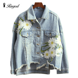 Wholesale Floral Jean Jacket - Wholesale- 2017 New Fashion Arrival Women's Embroidery Denim Jackets Vintage Casual Long Sleeve Loose Coat Female Jean Jacket Outerwear