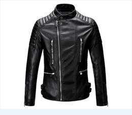Wholesale Mens Bomber Jacket Fur - mens bomber jacket with fur collar motorcycle biker Punk leather jacket mens quilted leather motor cycle jacket blouson cuir mouton homme