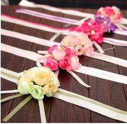Wholesale Flowers Supplies - The Wedding Celebration Supplies the Bride Wrist Flower Corsage Cloth Art is the Maid of Honor Sister Hand Korean Wedding Simulation Flower