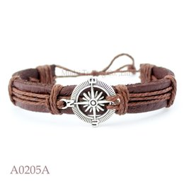 Wholesale Antique Compass Charm - ANTIQUE SILVER COMPASS Charm Adjustable Leather Cuff Bracelets Gifts For Nautical Sailing Bangle Punk Casual Friendship Jewelry