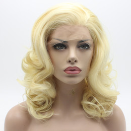 Wholesale Synthetic Wigs 613 - Iwona Hair Wavy Shoulder Length Light Blonde Wig 19#613 Half Hand Tied Heat Resistant Synthetic Lace Front Wig