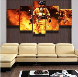 Wholesale Wall Decor Framed Canvas - No Frame FIREFIGHTER HERO Canvas Print Painting 5 Panels Wall Art Home Decor Picture for Living Room
