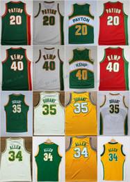 Wholesale Breathable Shirts - Throwback Basketball Jerseys Retro 20 The Glove Gary Payton 34 Ray Allen 35 Kevin Durant 40 Reign Man Shawn Kemp Shirts Basketball Jersey
