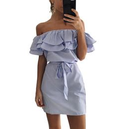 Wholesale Off Shoulder Striped Dress - Ruffles Summer Dress 2017 Women Stripe Print Off Shoulder Elastic Slash Neck Mini Dress Tie Plus Size Casual Party Beach Dresses