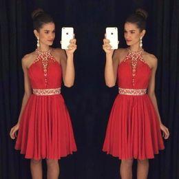 64a4441e7ff4 2019 vestito chiffon rosso da ritorno a casa 2018 New Halter Chiffon Red  Homecoming Dress in