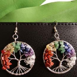 Wholesale Rainbow Dangle Earrings - Fashion Rainbow 7 Chakra Amethyst Tree Of Life Pendant Earrings Multicolor Wisdom Tree Natural Stone Dangle & Chandelier Earring A169
