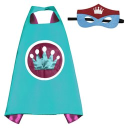 Wholesale Heroes Theme - 24 Styles Hot 70 cm*70 cm Kids Colorful Cartoon Capes & Mask America Cosplay Costumes Birthday Party Theme Costumes Free Shipping