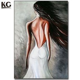 Wholesale Art Nudes - Modern Nude Art Sexy Lady Back Naked Girl Long Hair Oil Painting Handmade Canvas Art Abstract People