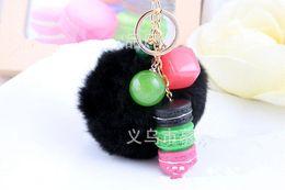 Wholesale Auto Rabbit - JINSE 10 Color Acrylic Candy Pompoms Keychain Rabbit Fur Ball Key Chain Bag Pendant Car Auto Keychain For Women TCK012