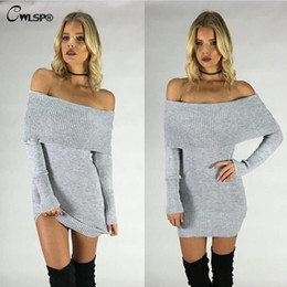 Wholesale Popular Computers - Wholesale-2016 Autumn Popular Sweater dress Women Solid Pullover Slash Neck Off Shoulder Sexy Fashion Women Kintting pull femme QL2653