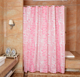 Wholesale Tree Print Curtain - Waterproof Shower Curtain 100% Polyester mildew thick Bathroom Curtains pink tree Pattern with Hooks Free print wholesale LJ006