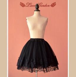 Wholesale Multi Layer Petticoat - Classic Black Petticoat Multi-layer Mini Pettiskirt with Lace Trimming