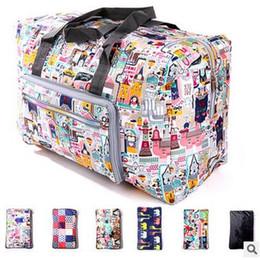 Wholesale Hand Carry Cartoon - 17 Colors Travel Duffel Bags Large Capacity Shoulder Bags Foldable Waterproof Bag Hand Carry Storage Bag Luggage Organizer CCA6018 20pcs