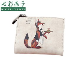 Wholesale Pu Leather Owl Purses - Hot Sale Women Fashion Scrawl Wallets Lady Cute Owl Fox Print Short Wallets Mujer PU Leather Card Holder Casual Mini Purses P553
