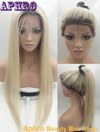 Wholesale Top Selling Lace Front Wigs - Best Selling Long Silk Top Front Lace Blonde Human Hair Wigs 130% Density Brazilian Virgin Glueless Full Lace Hair Wigs With Dark Roots